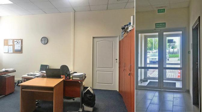 korytarza oraz jedno z pomieszczeń w lokalu biurowym do wynajmu we Wrocławiu