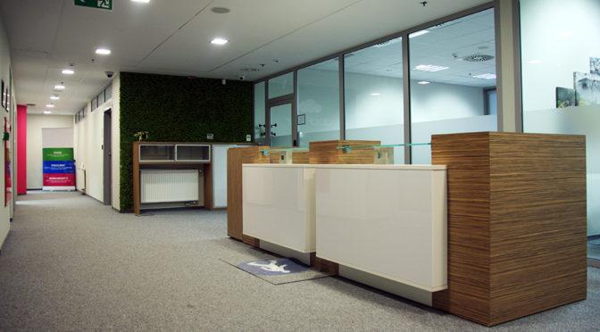 komfortowy hol w lokalu biurowym do wynajęcia Wrocław Fabryczna