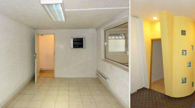 po lewej pomieszczenie biurowe, po prawej fragment korywtarza w lokalu biurowym do wynajmu Wrocław