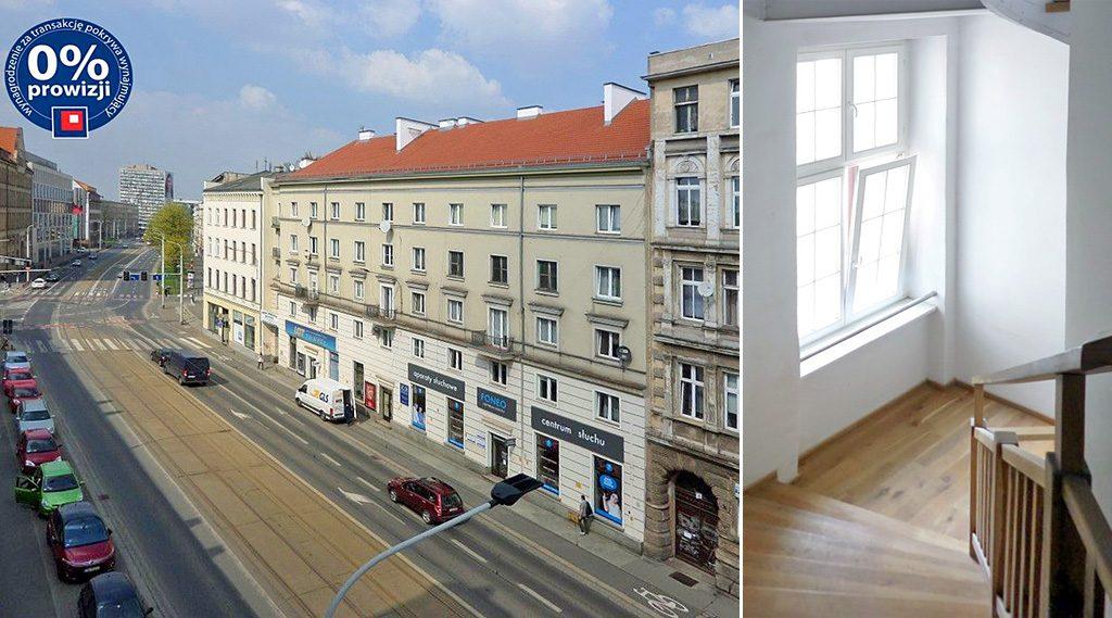 po prawej holl, po lewej widok z okien na okolice z lokalu biurowego na wynajem Wrocław Fabryczna
