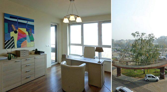 prestiżowe pomieszczenie biurowe oraz widok z okien w lokalu biurowym do wynajęcia Wrocław Fabryczna